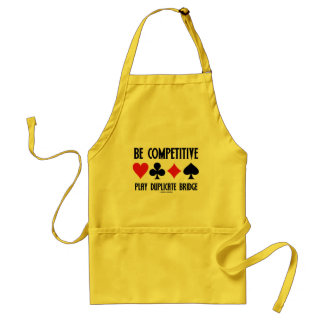 Be Competitive Play Duplicate Bridge Card Suits Aprons