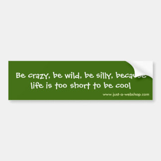 Be crazy, be wild, be silly, because life is to... bumper sticker