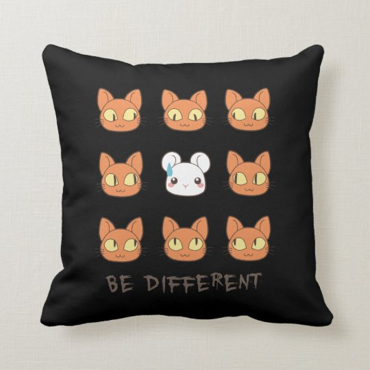 BE Different - black and talk pillow (custom