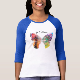 Be Different Butterfly Baseball T shirt