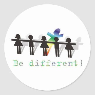 Be different! classic round sticker