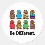 Be Different Ducks Round Sticker