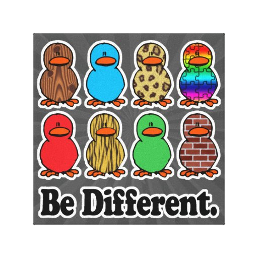 be different funny pattern ducky ducks stretched canvas prints
