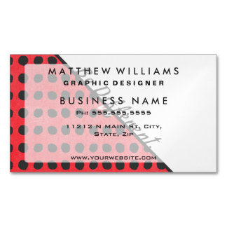 """Be Different."" Typography on Red Black Polka Dots Magnetic Business Card"