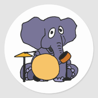 BE- Elephant Playing Drums Classic Round Sticker