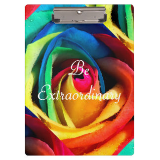 Be Extraordinary/Artsy Geometric Rainbow Rose Clipboard