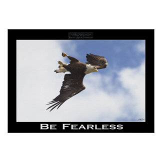 BE FEARLESS Bald Eagle Motivational Photo Poster