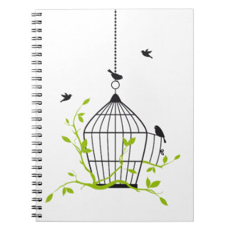 be free, open birdcage with birds and branches notebooks