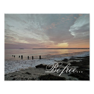 Be free.  Sunset over the ocean Poster