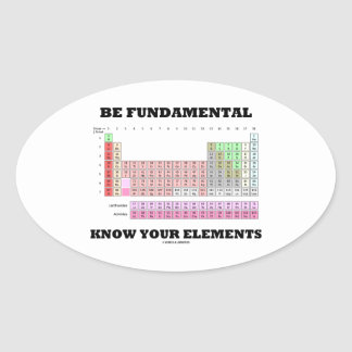 Be Fundamental Know Your Elements Periodic Table Oval Sticker