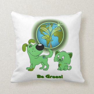 Be Green Leaf and Blade Throw Pillow