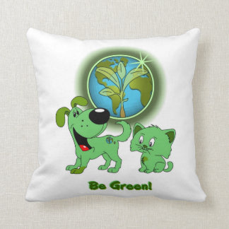 Be Green Leaf and Blade Throw Pillows