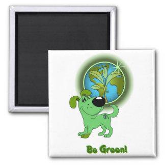 Be Green! - Leaf Square Magnet
