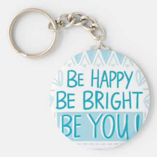 "BE HAPPY 2.25"" Basic Button Keychain"