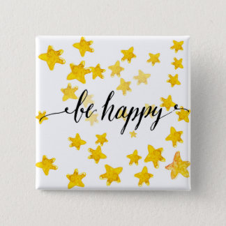 Be Happy 3 15 Cm Square Badge
