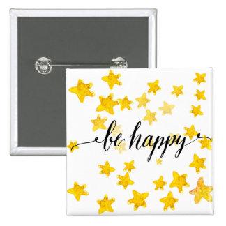Be Happy 3 15 Cm Square Badge