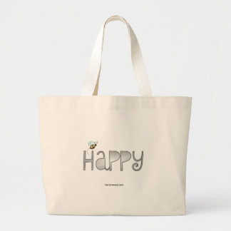 Be Happy - A Positive Word - Apparel (Black) Jumbo Tote Bag