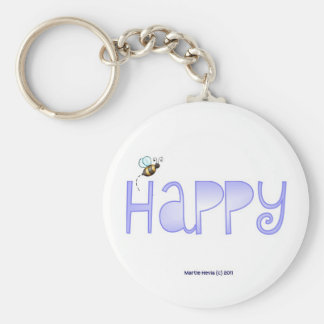 Be Happy - A Positive Word - Round Blue Key Chains