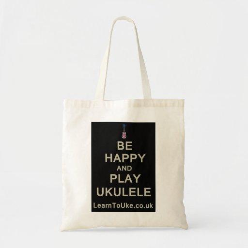 Be Happy and Play Ukulele Canvas Bag