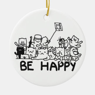 Be Happy Cats Circle Ornament