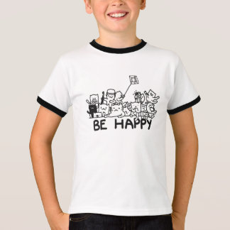 Be Happy Cats Doodle Kids' Basic Ringer T-Shirt