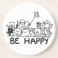 Be Happy Cats Doodle Sandstone Drink Coaster