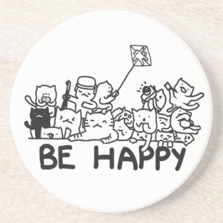 Be Happy Cats Doodle Sandstone Drink Coaster