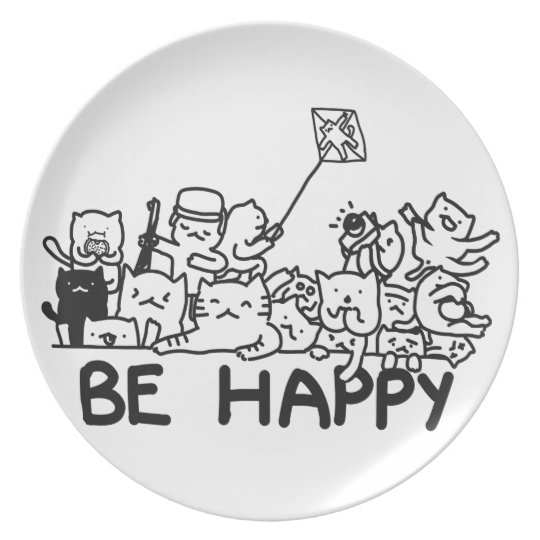 Be Happy Cats Doodle Style: Melamine Plate