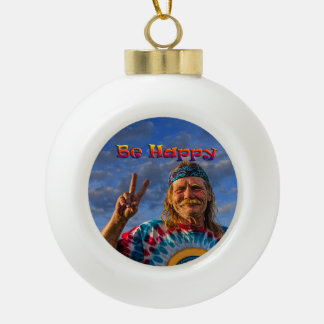 BE HAPPY CERAMIC BALL CHRISTMAS ORNAMENT