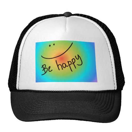 """""""Be happy"""" colourful smiley face, handwritten Mesh Hat"""