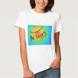 """Be happy"" colourful smiley face, handwritten Shirts"