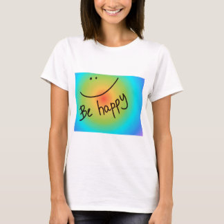 """Be happy"" colourful smiley face, handwritten T-Shirt"