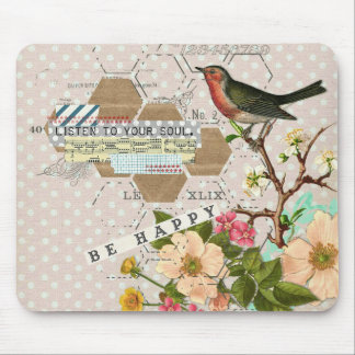 Be Happy Digital Bird collage Mouse Pad