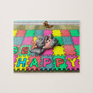 Be Happy Elephant 8x10 Photo Puzzle with Gift Box