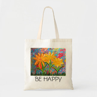 Be Happy Flowers Budget Tote Bag