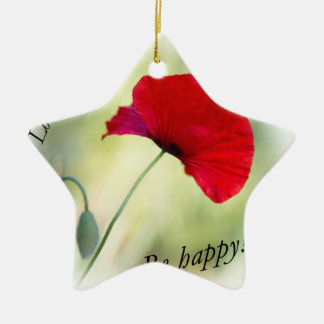 """Be happy! - Love Yourself..."" Ceramic Star Decoration"