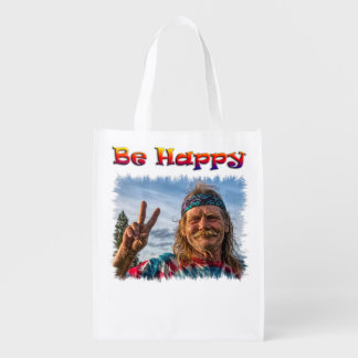 BE HAPPY REUSABLE GROCERY BAG