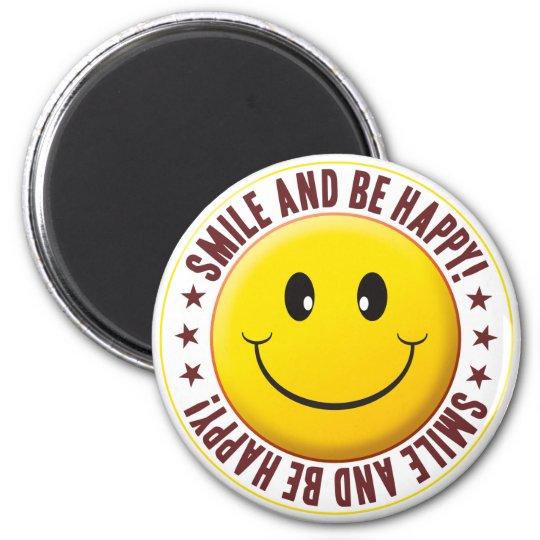 Be Happy Smiley 6 Cm Round Magnet
