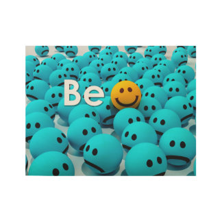 Be Happy Smiley Emoji Motivational 2 Variations Wood Poster