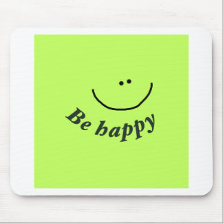"""'Be happy"""" smiley face Mouse Mats"""