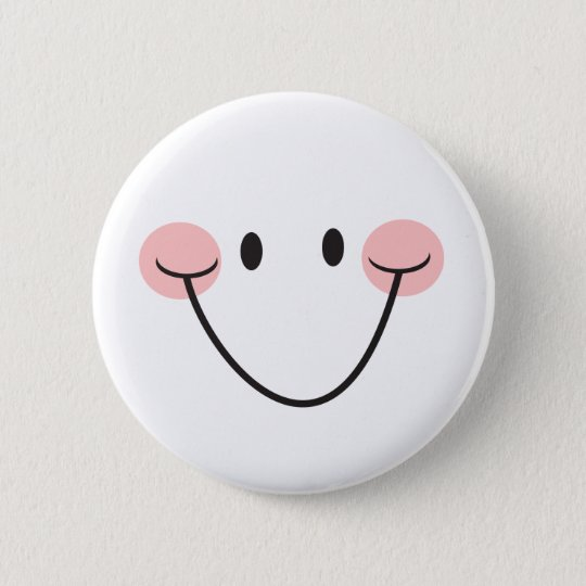 Be happy smiley face pinback button or badge