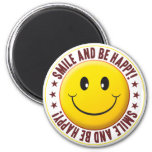 Be Happy Smiley Refrigerator Magnets