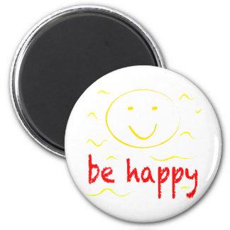 be happy smilies 6 cm round magnet