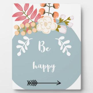 Be Happy Typnography Plaque