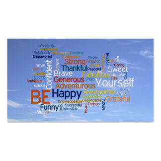 Be Happy Word Cloud in Blue Sky Inspire Business Cards