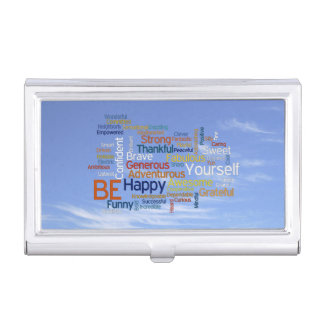 Be Happy Word Cloud in Blue Sky Inspire Business Card Holder
