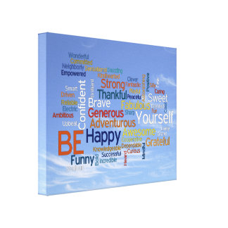 Be Happy Word Cloud in Blue Sky Inspire Stretched Canvas Prints