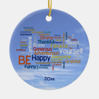 Be Happy Word Cloud in Blue Sky Inspire Christmas Ornament