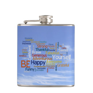 Be Happy Word Cloud in Blue Sky Inspire Hip Flask