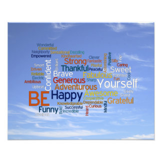 Be Happy Word Cloud in Blue Sky Inspire Photographic Print